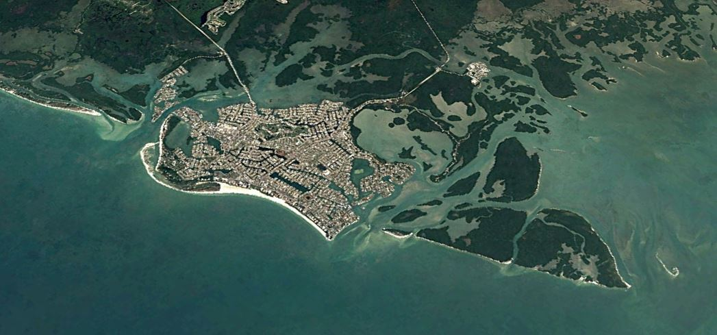 aerial view of marco island and surrounding boating waters